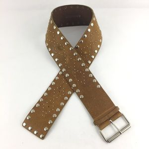 Express Chunky Wide Leather Belt Studded Italy